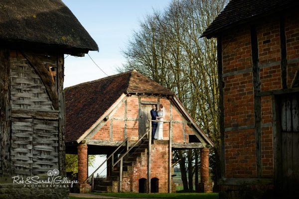 Couple on barn steps at Avoncroft Museum