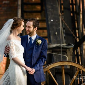 Bride and groom at Avoncroft Museum,