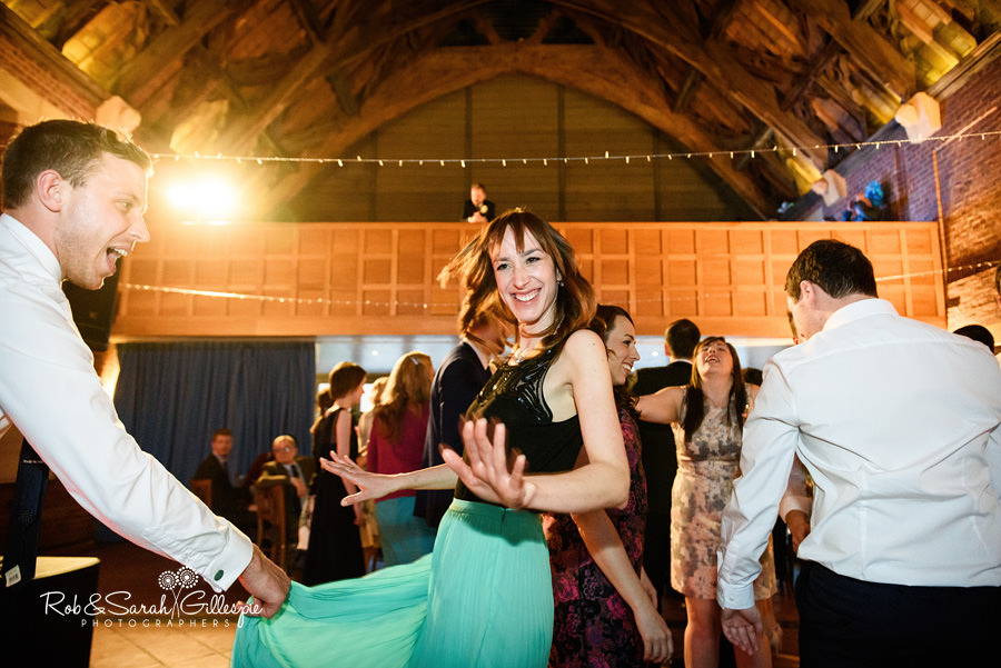 Wedding guests dancing at Avoncroft Museum