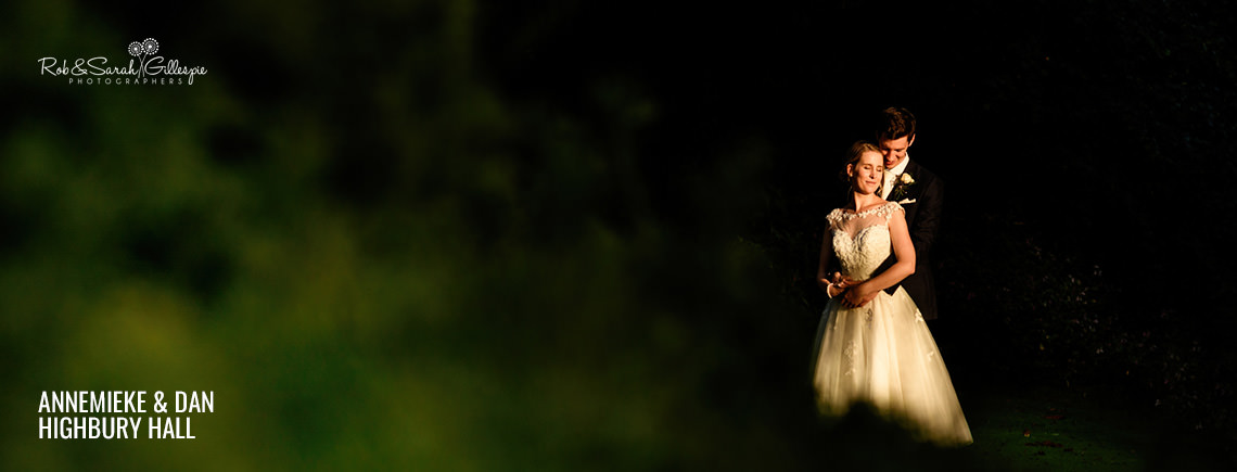 Bride and groom together at Highbury Hall in beautiful evening light