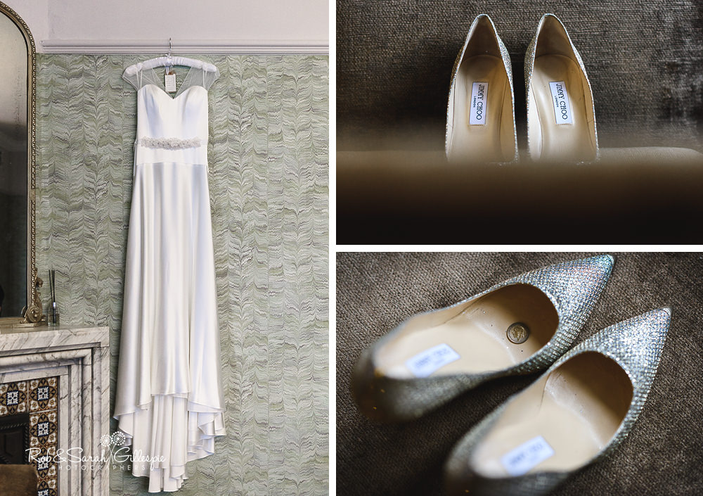 Wedding dress and shoes at Hampton Manor