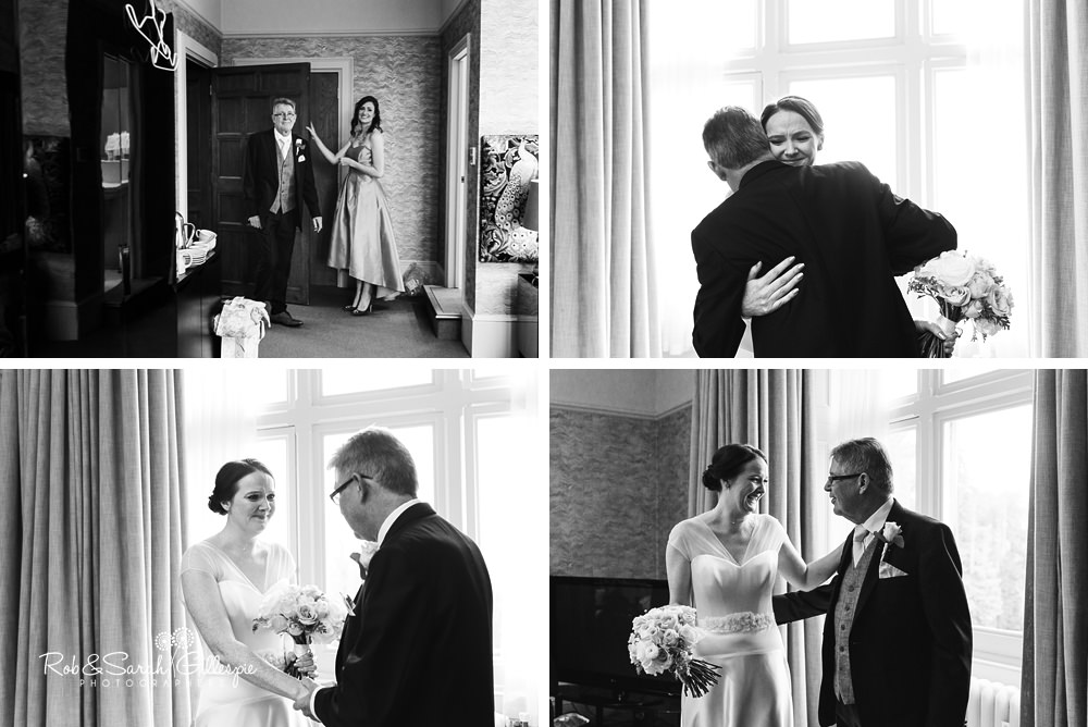 Bride's father sees her in wedding dress for the first time at Hampton Manor