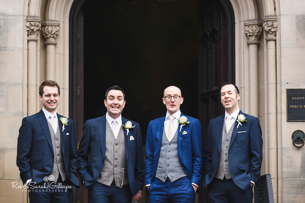 Group photo of groom and ushers at Hampton Manor