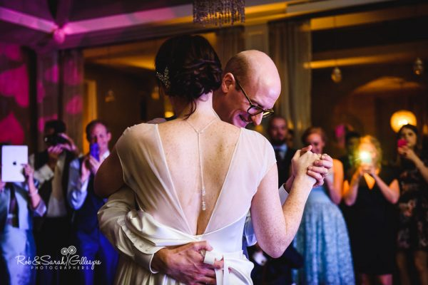 Wedding photographers at Hampton Manor - bride and groom first dance