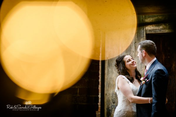 Bride and groom at Shustoke Barn