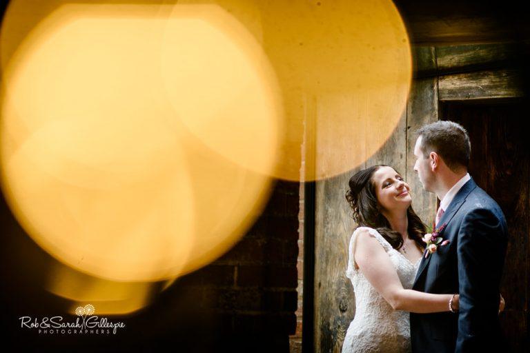 Bride and groom at Shustoke Barn