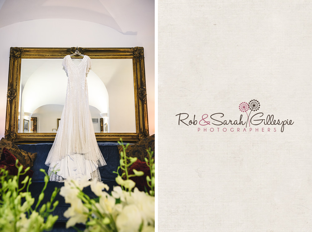 Wedding dress hanging from mirror in Hansom Suite at Birmingham Town Hall