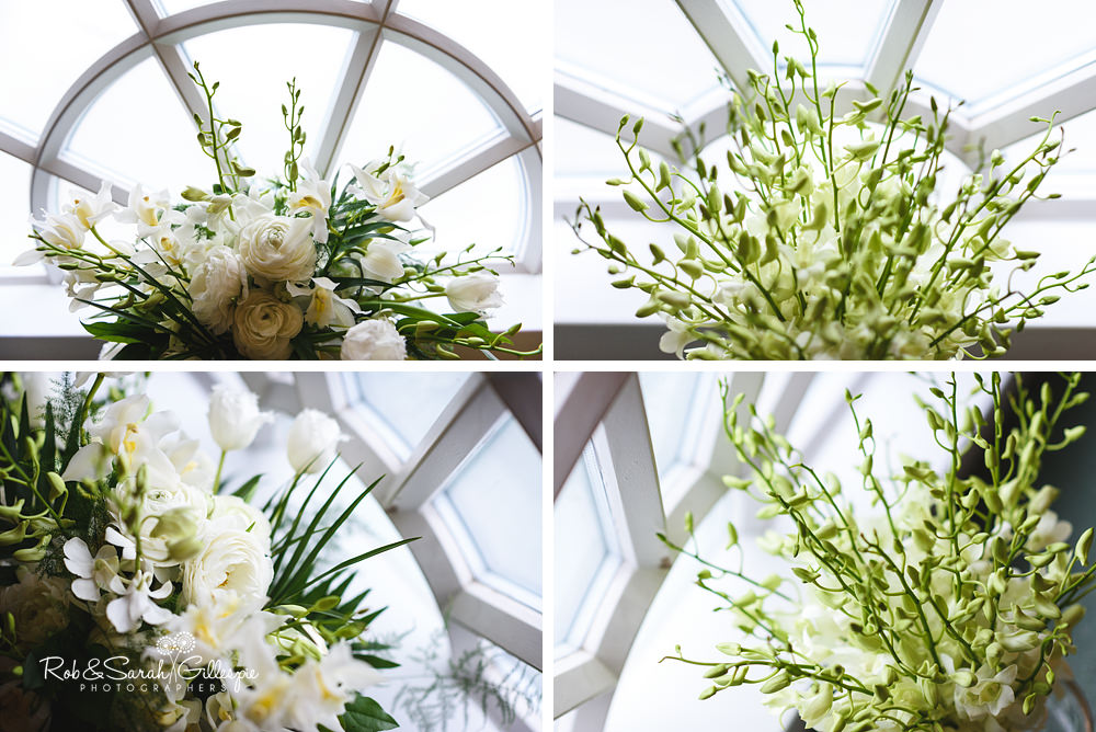 Wedding flowers in decorative window