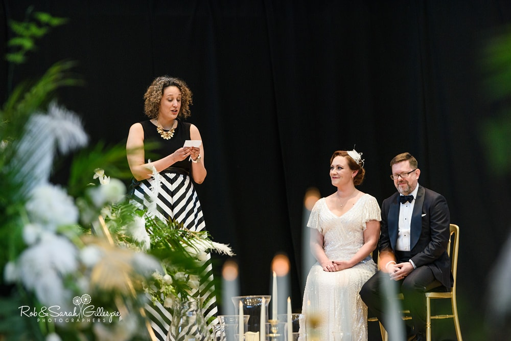 Wedding guest reads passage at Birmingham Town Hall