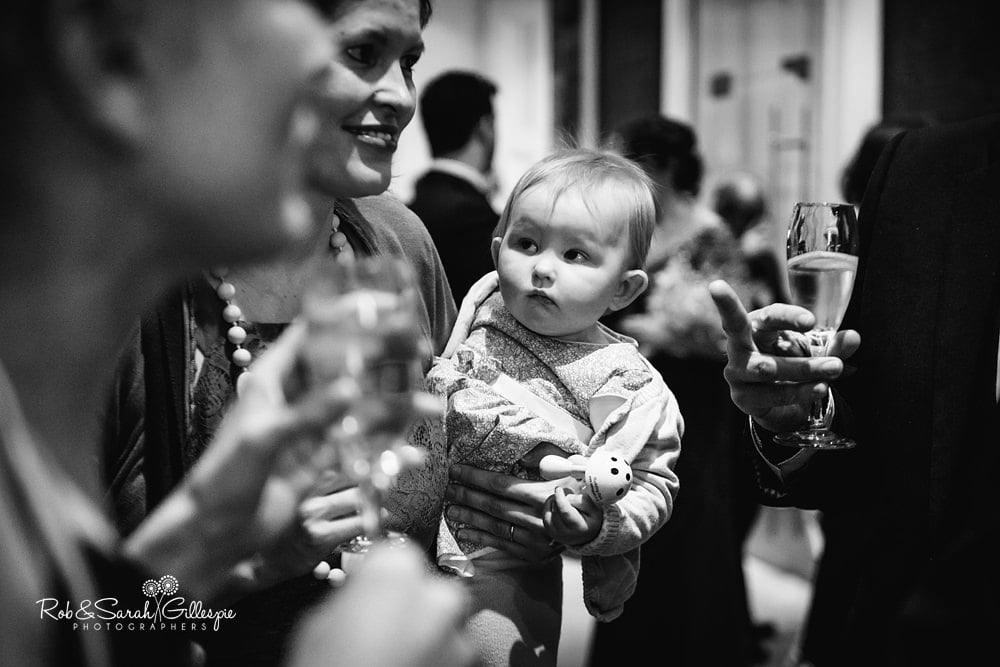 Wedding guests enjoy drinks reception at Birmingham Town Hall wedding