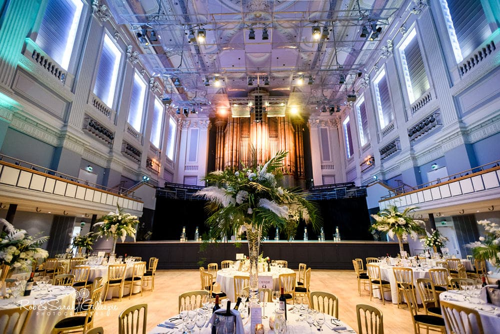 Interior of Birmingham Town Hall set up ready for wedding breakfast, decorated by Ava Event Styling