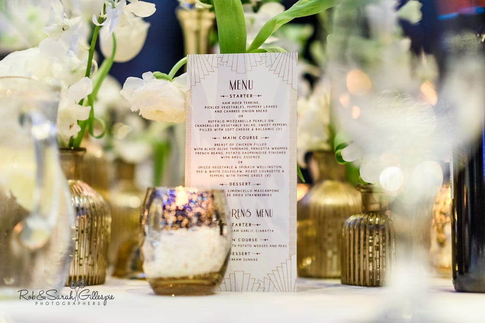 Wedding table details in Birmingham Town Hall, decorated by Ava Event Styling