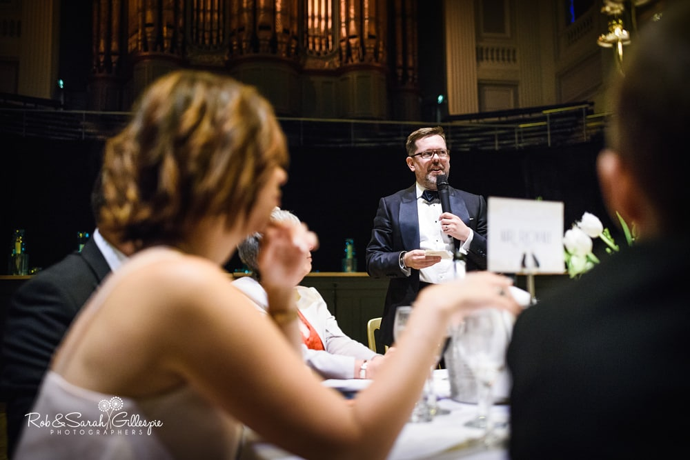Wedding speeches during reception at Birmingham Town Hall