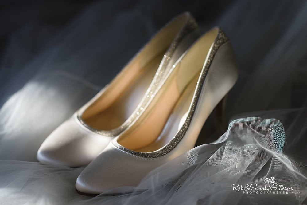Bridal shoes in beautiful light