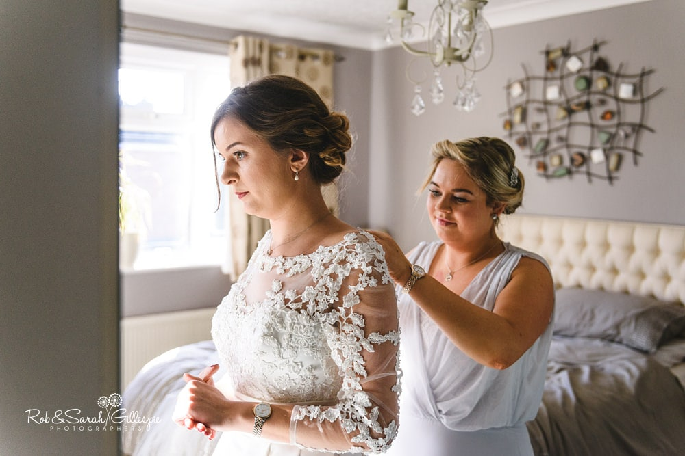 Bride gets ready for wedding at The Boathouse Sutton Coldfield