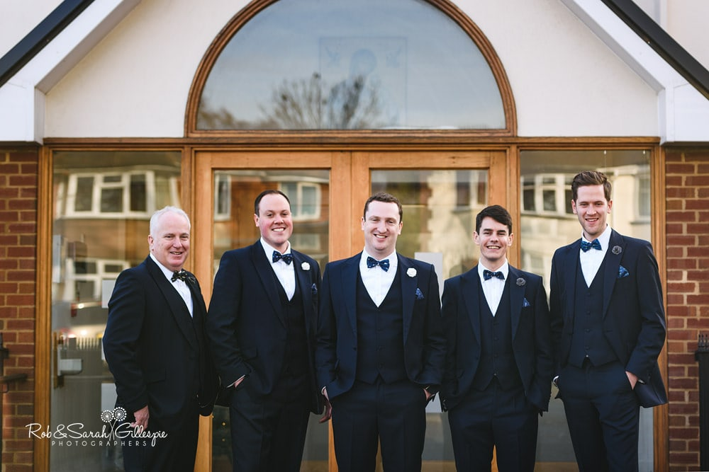 Group photo of groom and groomsmen at St Annes RC church Streetly