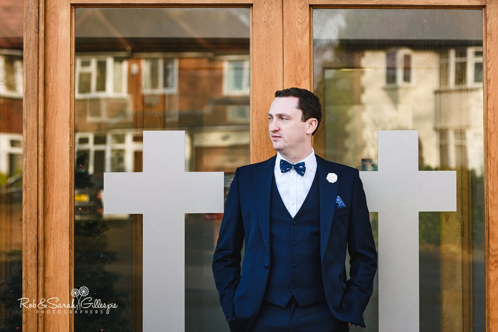 Portrait of groom at St Annes RC church Streetly