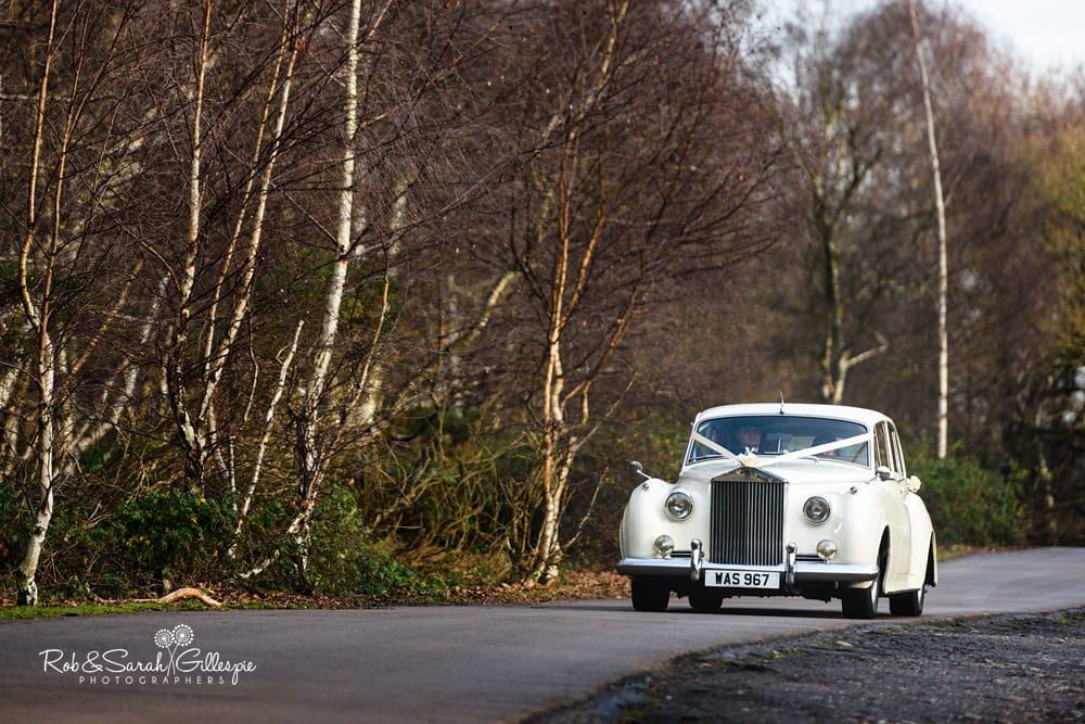 Wedding car arrives at The Boathouse Sutton Coldfield