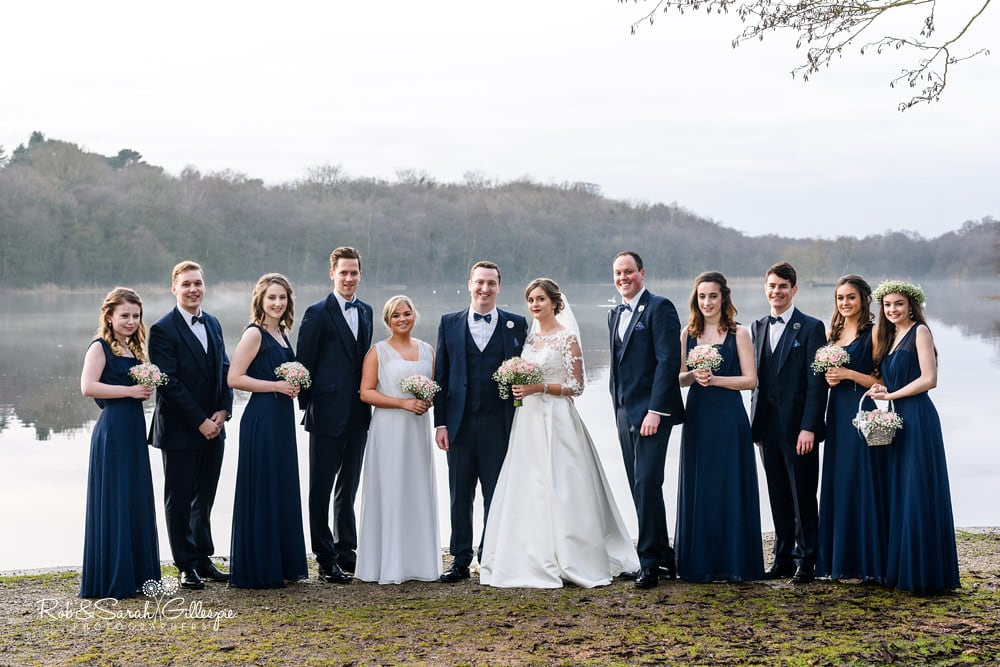 Group photo of bride, groo, ushers and bridesmaids at The Boathouse Sutton Coldfield