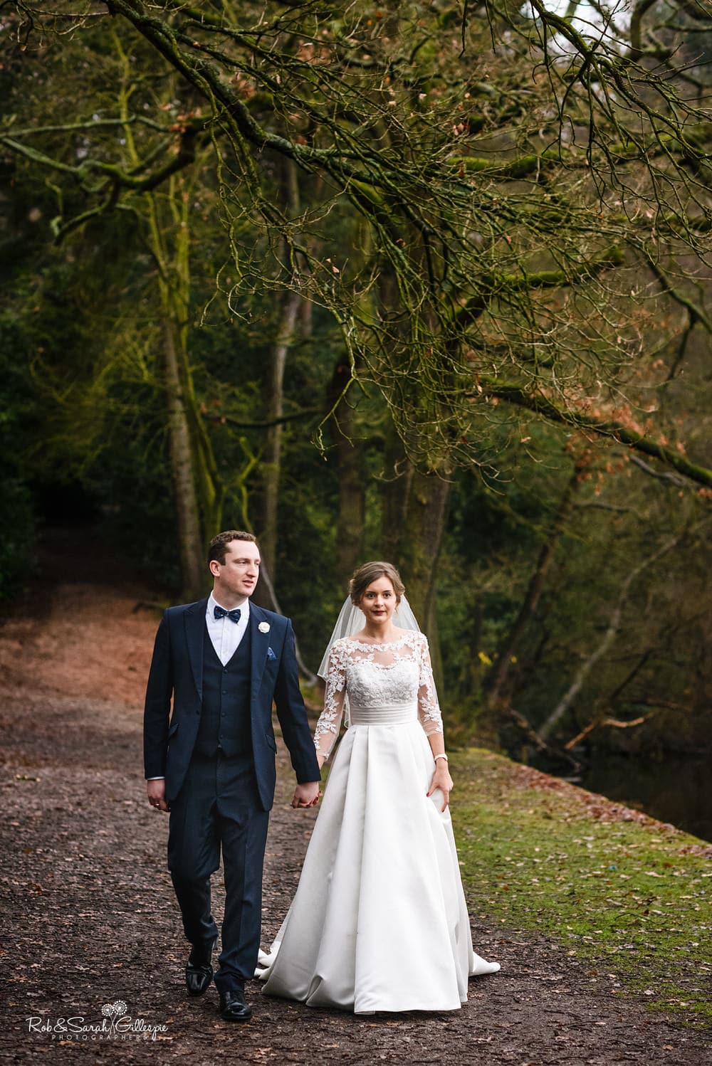 Bride and groom together outside The Boathouse Sutton Coldfield