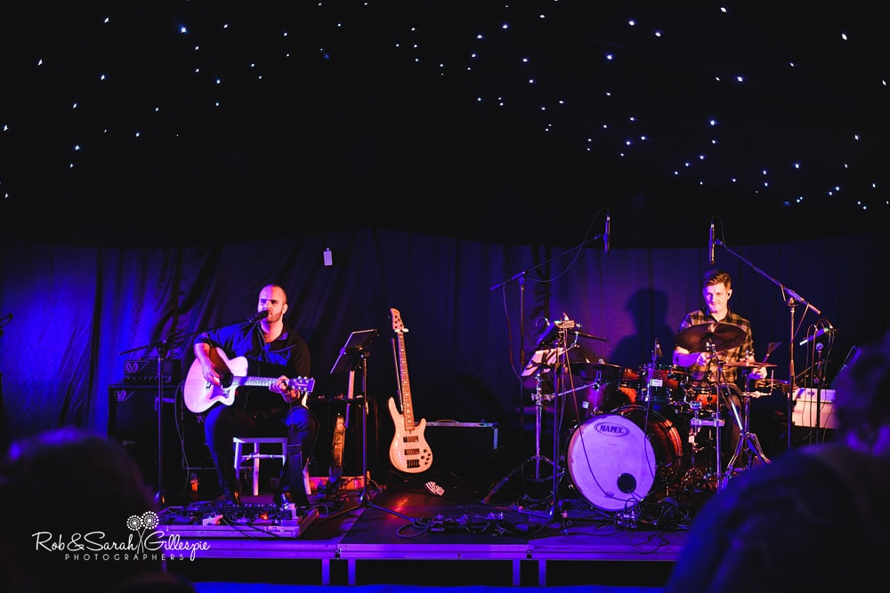 Musicans play at wedding reception at The Boathouse Sutton Coldfield