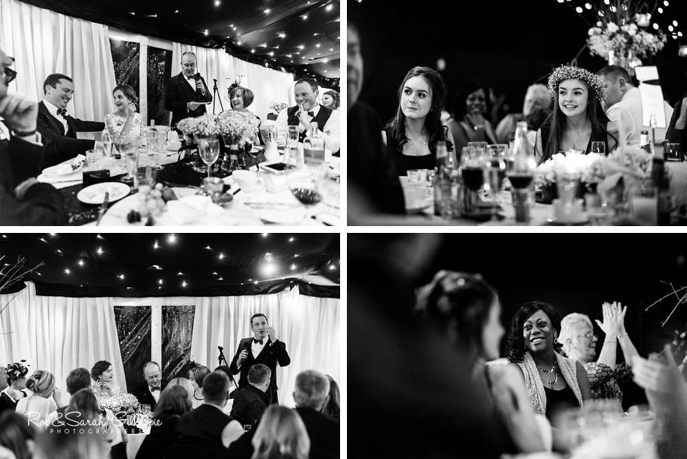 Wedding speeches in marquee at The Boathouse Sutton Coldfield