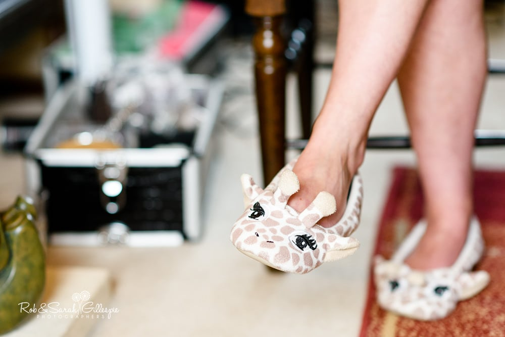 Close up of bride's slippers