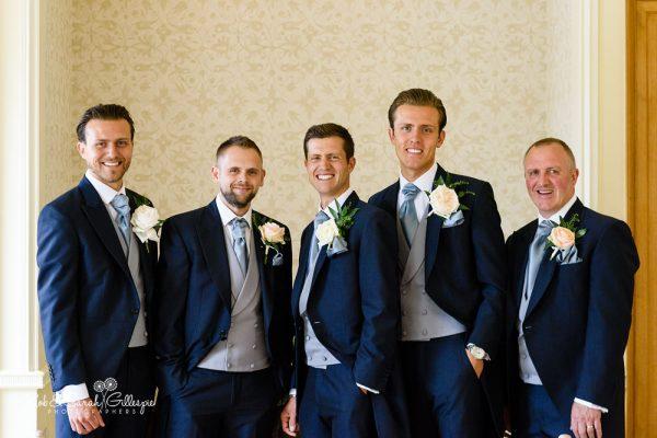 Groom and groomsmen at Alrewas Hayes