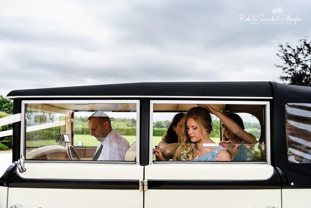 Bridesmaids arrive at Alrewas Hayes