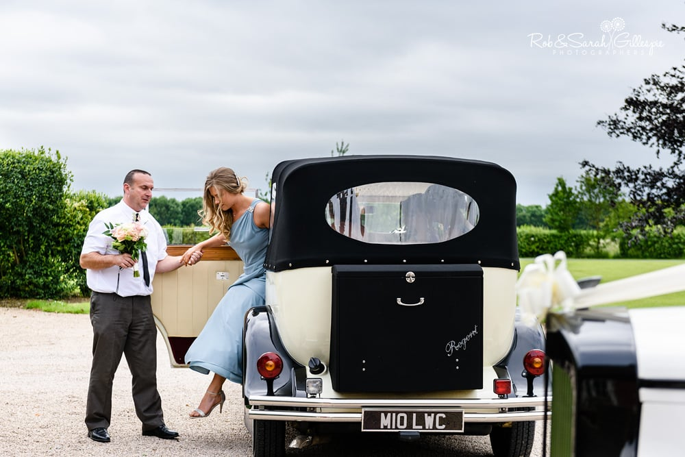 Brides car arrives at Alrewas Hayes