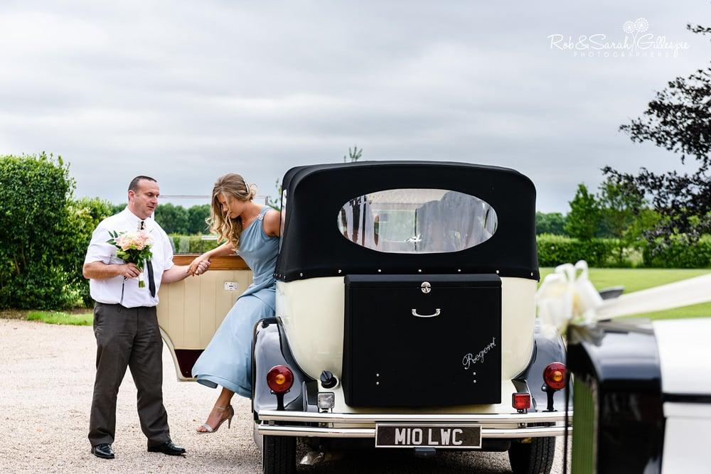 Brides car arrives at Alrewas Hayes