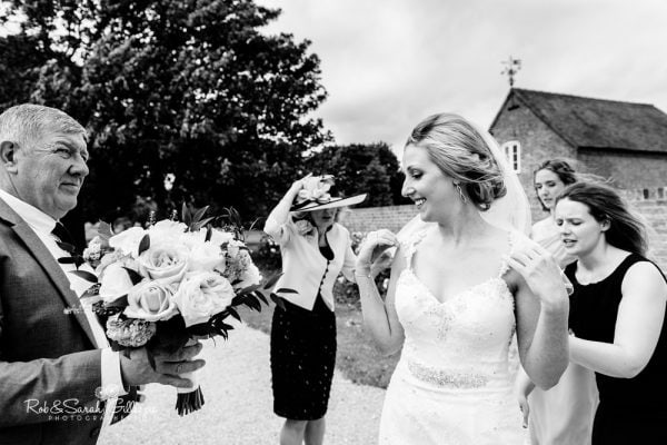Bride arriving at Alrewas Hayes