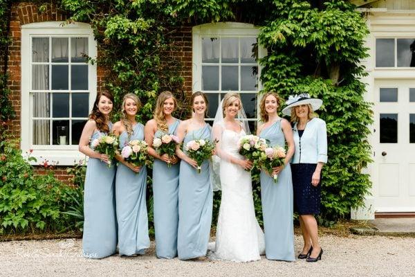 Bride and bridesmaids at Alrewas Hayes wedding venue