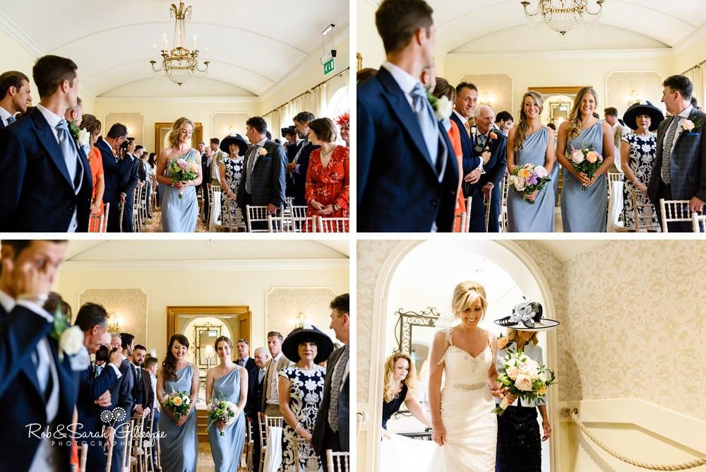 Bride and bridesmaids enter wedding ceremony at Alrewas Hayes