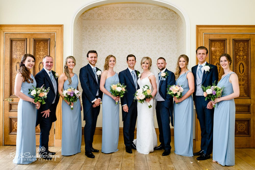 Bride, groom and bridal party group photo at Alrewas Hayes