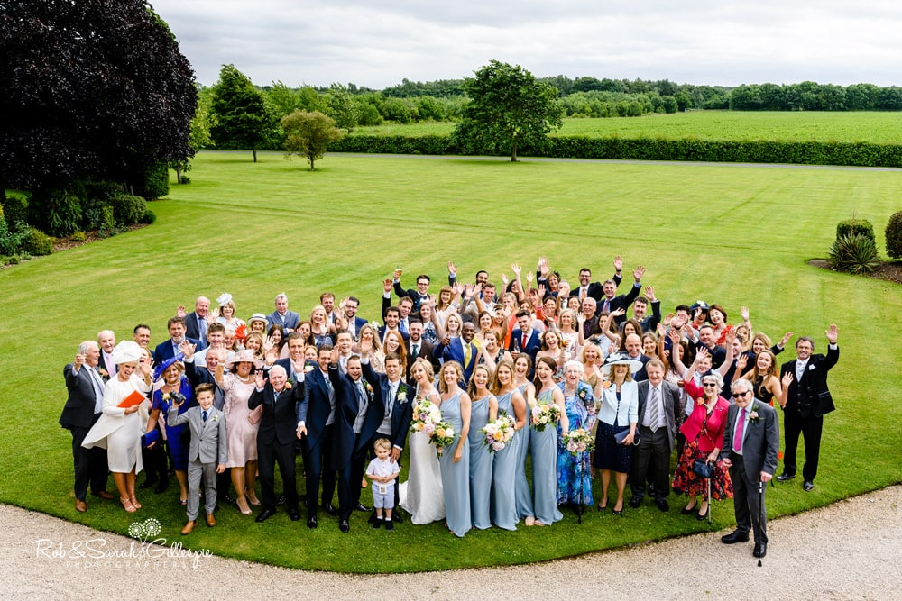 Group photo of entire wedding party at Alrewas Hayes