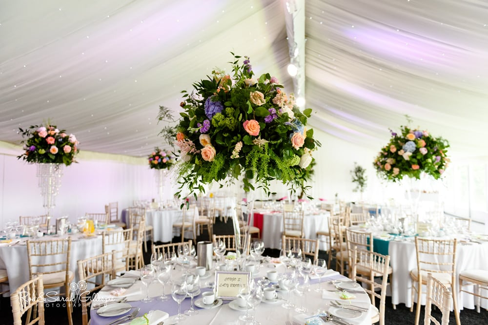 Details of wedding decorations at Alrewas Hayes