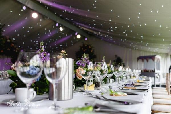 Alrewas Hayes marquee set up for wedding breakfast
