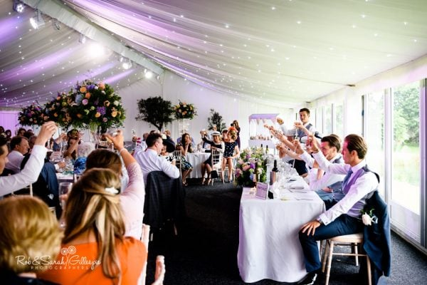 Wedding toasts at Alrewas Hayes