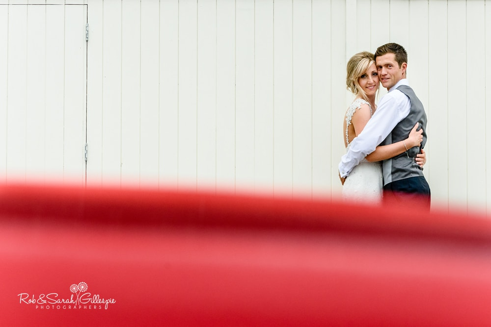 Bride and groom together at Alrewas Hayes