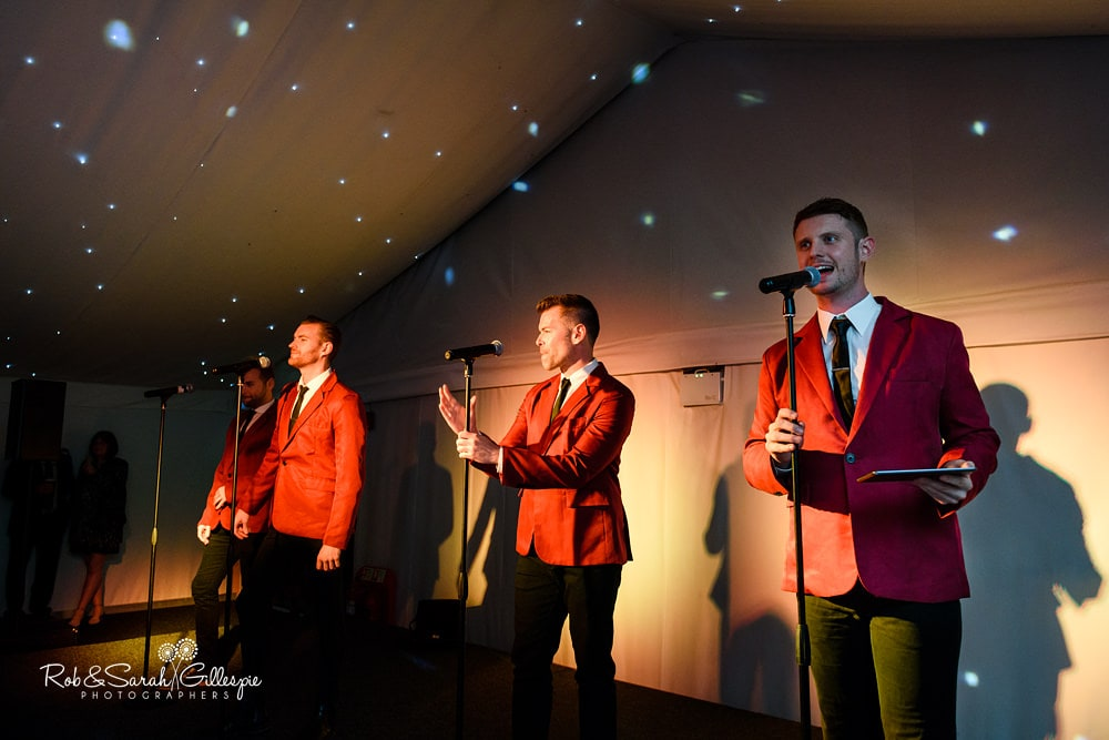 Jersey Boys entertain wedding guest at Alrewas Hayes