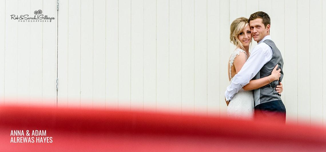 Bride and groom at Alrewas Hayes