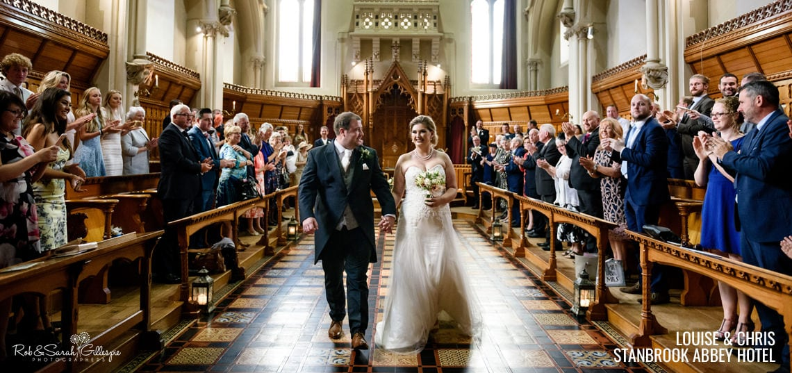 Wedding ceremony at Stanbrook Abbey