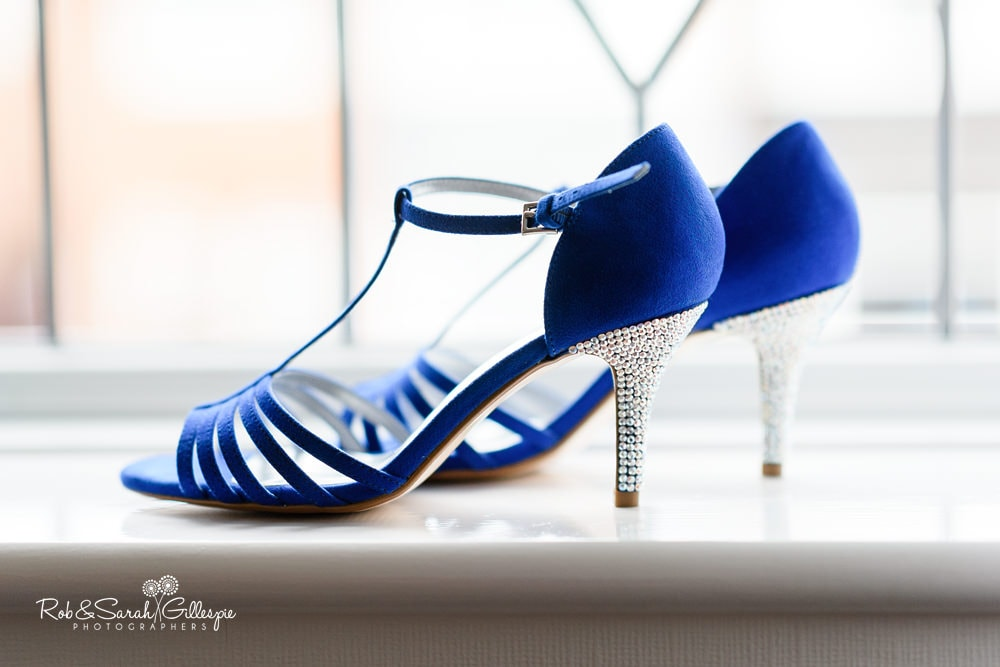 Blue wedding shoes with diamonte heels