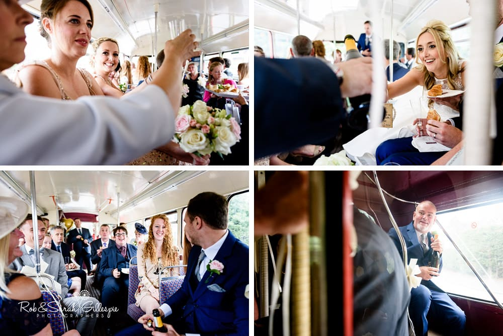 Bride, groom and wedding party on double decker bus