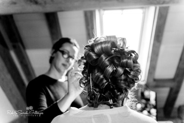 Bride getting ready at Redhouse Barn in Worcestershire