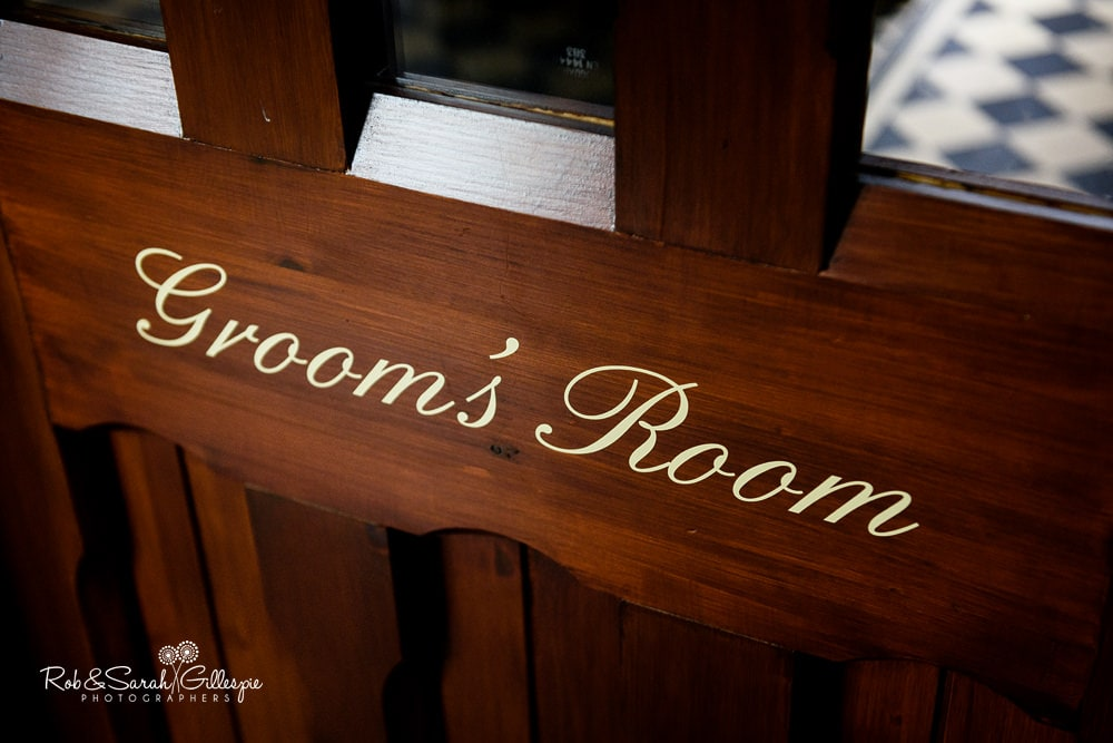 Sign on door for Groom's Room at Stanbrook Abbey Hotel