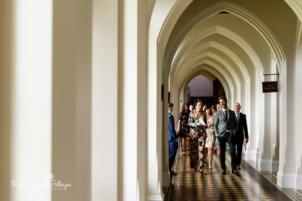 Wedding guests arrive for ceremony at Stanbrook Abbey