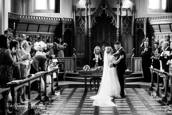 Wedding ceremony in Callow Great Hall at Stanbrook Abbey