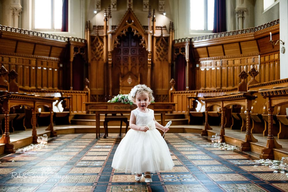 Flower girls play in Callow Hall at Stanbrook Abbey